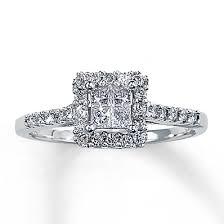 Promise Rings Kay Jewelers Diamond Engagement Ring 12 Ct Tw Princess Cut 14k White Gold