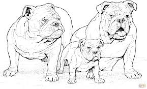 Click The English Bulldogs With Puppy Coloring Pages To View Printable