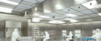 cleanroom ceiling grid structures and ceiling mount components