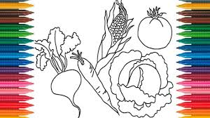 Vegetables Coloring Book Fun Painting Learning Colors How To Paint Pages