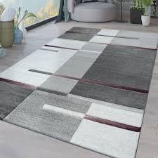 kurzflor wohnzimmer teppich karo muster lila