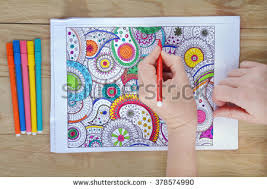 Woman Holding Gel Pens Adult Coloring Stock Photo 370126493