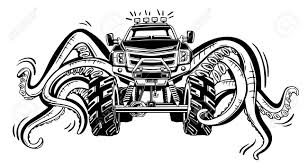100 Monster Truck Tattoos Vector With Tentacles Of The Mollusk Mystical Stock