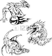Dragon Tattoo Designs Set Of Vector Illustrations