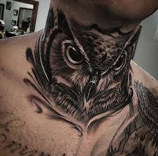 Owl On Guys Neck
