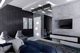 The Master Bedroom Features Black Brick Walls In Contrast To White Marble Flooring With