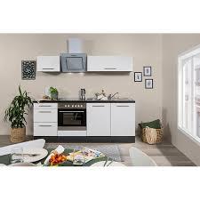 respekta premium küchenzeile rp210e 210 cm eiche grau nb weiß