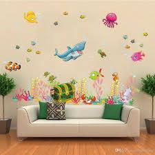 2015 New Sea World Childrens Room Wall Sticker Ocean Cartoon Decal Kids Living