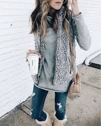 Cozy Gray Vest Over Sweater With Trendy Distressed Blue Jeans