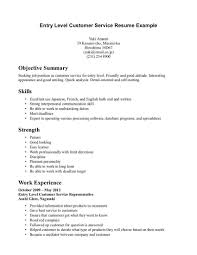 ResumeEntry Level Customer Service Resume Objective Examples Sample Summary Example For Of Crew Representative