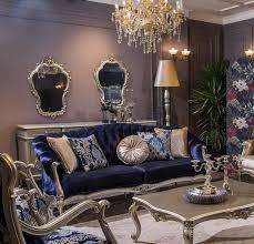 casa padrino luxus barock wohnzimmer sofa mit dekorativen kissen blau silber 212 x 80 x h 98 cm prunkvolle barock möbel