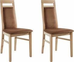 2 er polster stühle massivholz bezug in braun