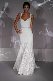 lace white mermaid wedding dress with v neckline and rhinestone