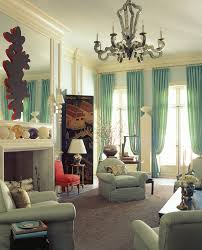 Living Room Drapery Ideas Chaming Decoration With Long Turquoise Curtains Of Glass Windows