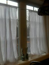 Yellow Dotted Swiss Curtains by I Made Some Xtra Long Cafe Curtains Out Of A Flour Sack Towel I
