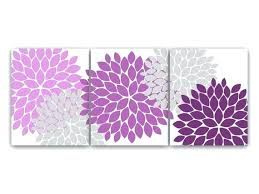 Wall Decor Purple Home Canvas Art Lavender And Gray Flower Burst Prints Bathroom