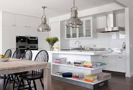 View In Gallery Modern Kitchen With Industrial Style Lighting And White Island Open Shelves Design Diane