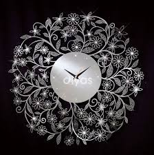 Floral Chrome Wall Clock With Crystal Decoration On Designs Next