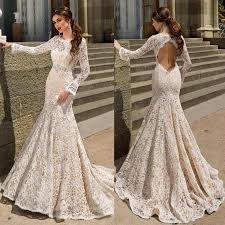 modest mermaid wedding dresses bodice fitted long sleeve 2016