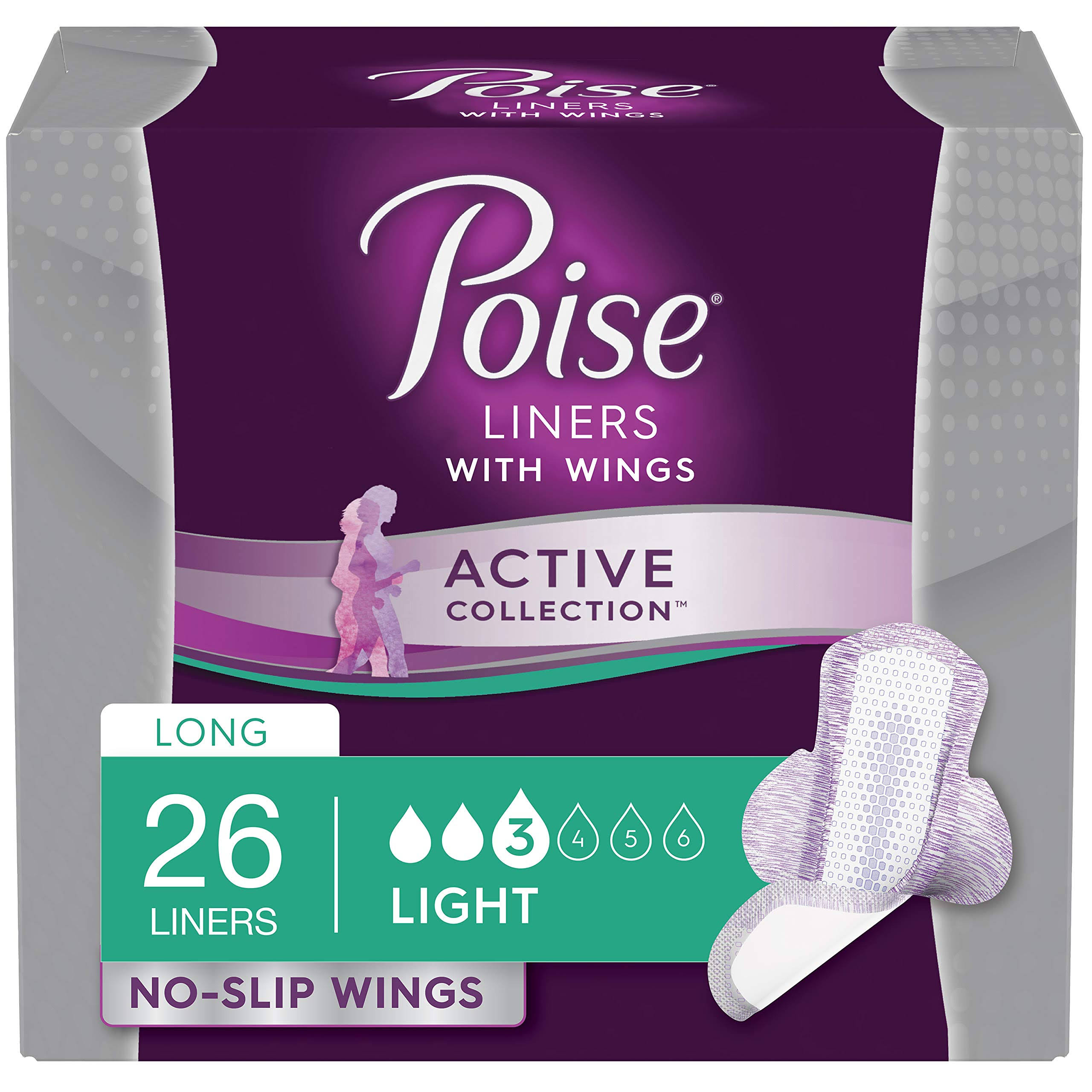 Poise Active Collection Incontinence Liners - with Wings, Light, 26ct