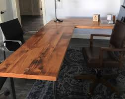 L Shaped Desk Reclaimed Wood And Steel Industrial