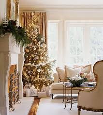 Christmas Tree Wrapped In Lights And Shiny Ornaments View