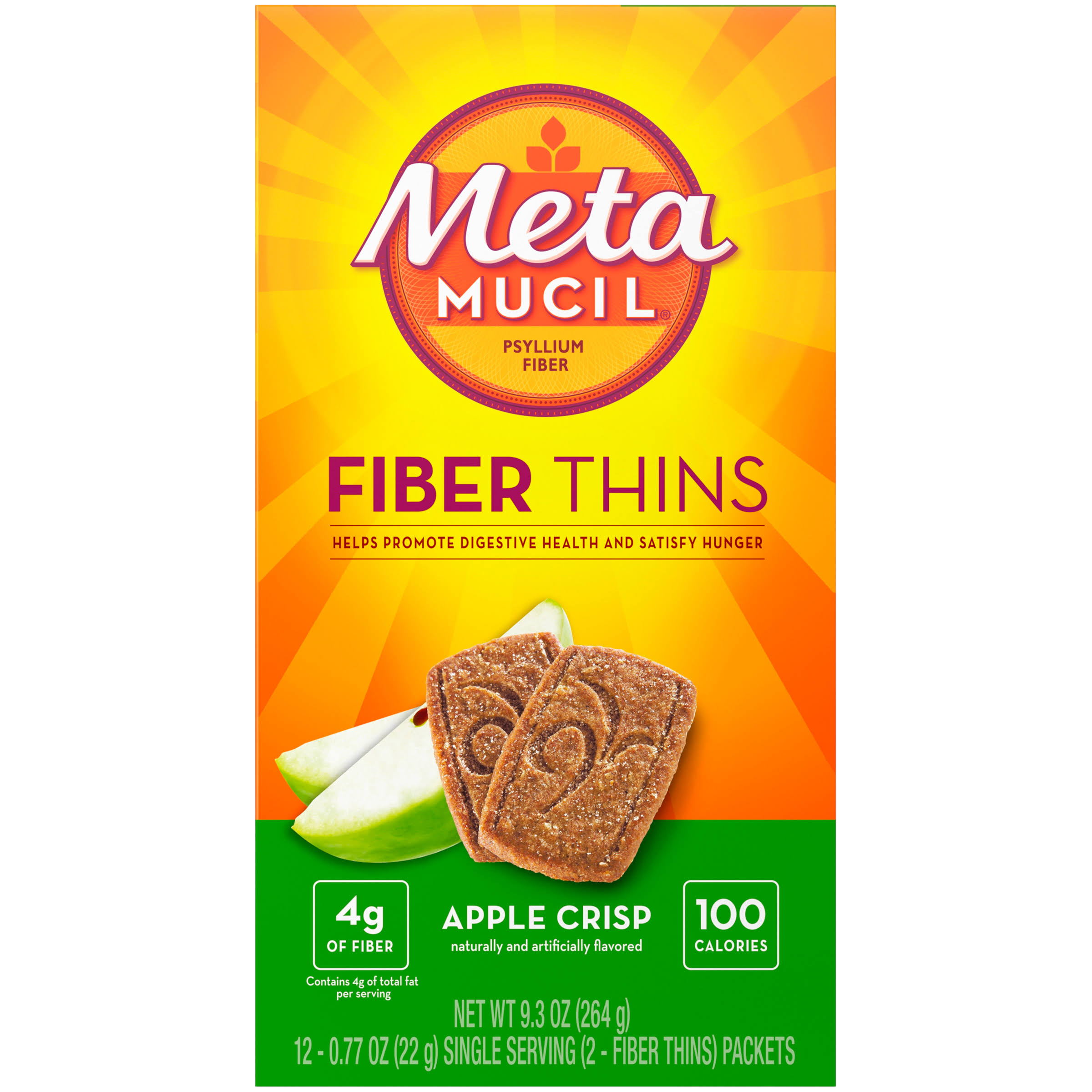 Metamucil Multigrain Fiber Wafers - Apple Crisp, 12 Packets