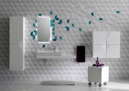 bathroom mirror with neon lighting and white cube wall decor idea