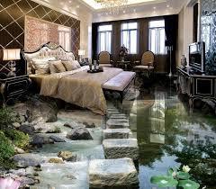 Modern 3d Wallpaper For Living Room Bridge Lotus Stone Vinyl Flooring Bedroom Waterproof Custom