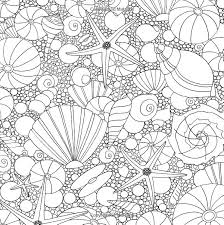Seashells Ocean Underwater Sea Coloring Pages Colouring Adult Detailed Advanced