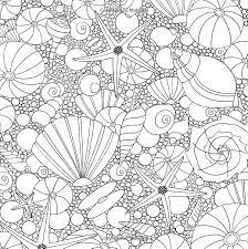 Seashells Ocean Underwater Sea Coloring Pages Colouring Adult Detailed Advanced Printable Kleuren Voor Volwassenen Coloriage Pour
