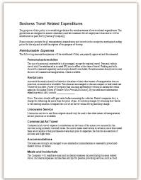 This Sample Policy Provides An Example Of How A Companys Regarding Travel Related Expenses May Be Articulated In Employee Handbook