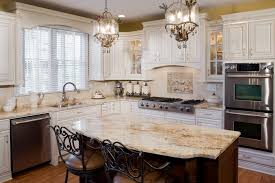 Tuscan Antique White Kitchen Cabinets JennAir Appliances With Recessed Panel Stained Cherry Island And Warming Drawer Microwave