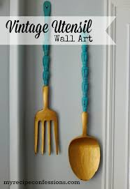 Wall Art Ideas Design Vintage Hanging Decoration Wooden Utensil For Dining Room Designed Cutlery Cute Products Modern Blue Gold Top