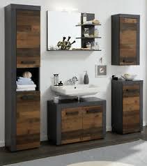details zu bad komplett set indy wood matera grau badezimmer möbelset vintage 5 teilig