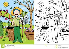 Cartoon image of man doing yard work color and black white