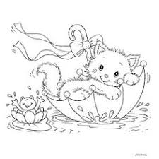 Printable Kitty Cat And Frog In Umbrella Lovely Weather
