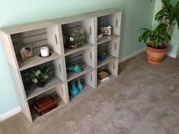 DIY Wooden Crate Bookshelf Stained With Driftwood Crates Were 899 From JoAnn