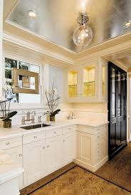 metallic silver foil ceiling transitional kitchen