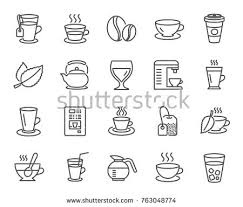 Coffee And Tea Line Icons Set Of Cappuccino Juice With Ice Latte Signs