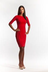 red cocktail dress with elbow length sleeves by perlae couture