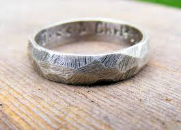 Palladium Sterling Silver Wedding Ring Mens Textured Band Rustic Worn Organic