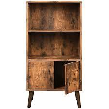vasagle retro bücherschrank bücherregal mit 2 ablagen und schranktüren wohnzimmerschrank retro möbel für wohnzimmer foyer büro aufbewahrung für