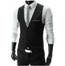 Gothic Steampunk Black White Slim Fit Mens Waistcoat