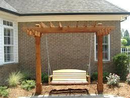 Outdoor Patio Pergola Swing Home Design Ideas Set Porch Gardan Metal Garden With