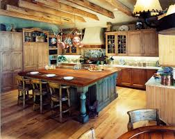 Awesome Primitive Kitchen Ideas With Wooden Cabinet And Dining Table