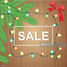 Christmas Lights Garland And Fir Branches Sale Vector Illustration Art