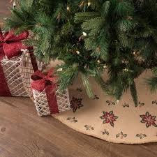 Jute Burlap Poinsettia Tree Skirt 48 Christmas Decor Seasons Crest