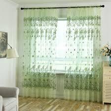 wohnzimmer blätter durchsichtiger vorhang tüll