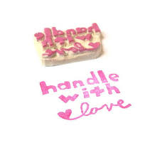 Handle With Love Rubber Stamp Hand Carved Shipping By Creatiate